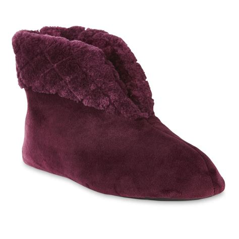 bootie slippers for dearfoams s purple velour bootie shoes s