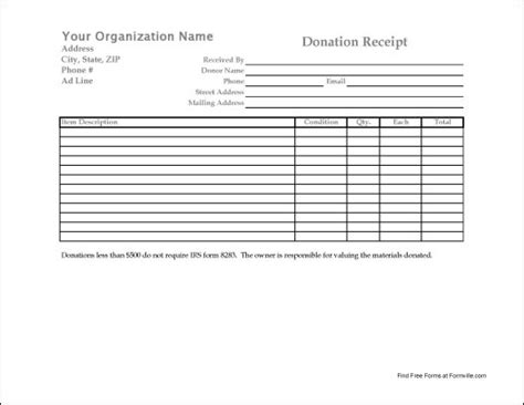 free charitable contribution receipt template charity donation form template free printable documents