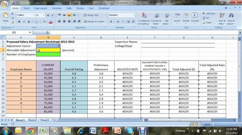Salary Spreadsheet by Salary Adjustment Worksheet Avi By Geri Abracosa