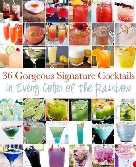 gorgeous signature cocktails in every color rainbow
