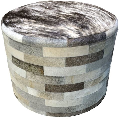 cowhide ottoman round gray round cowhide ottoman 24 inch