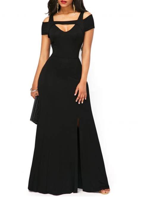 Sleeve Slit Side Dress sleeve side slit black maxi dress