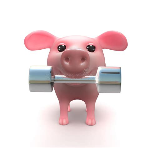 3d Piglet 3d piglet lifts weights in his stock