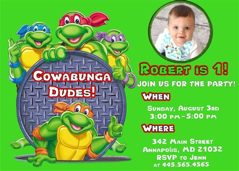 printable birthday cards ninja turtles free printable ninja turtle birthday invitations
