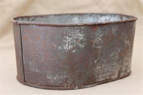 Small Metal Planter by Vintage Zinc Planter Crusty Primitive Small Metal Tub