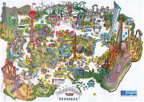 six flags magic mountain map theme park brochures six flags magic mountain theme park