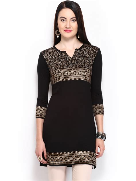 buy eavan women black white printed kurti 381 buy ira soleil women black printed kurti 381 apparel