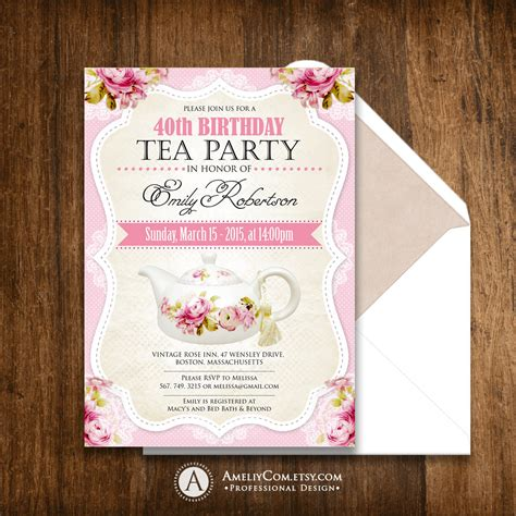 printable birthday party invitations adults tea party birthday invitation printable adult girl invite
