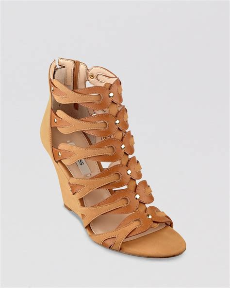 guess open toe gladiator wedge sandals jily2 in brown lyst