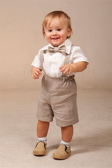wedding attire for 1 year boy baby boy linen suit ring bearer set of 4 by