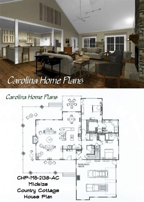 open floor plan cottage midsize country cottage house plan with open floor plan