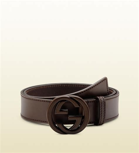 gucci belt with leather interlocking g buckle in brown for lyst
