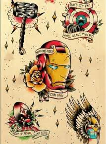 Avengers traditional american tattoo designs rat a tat tat style