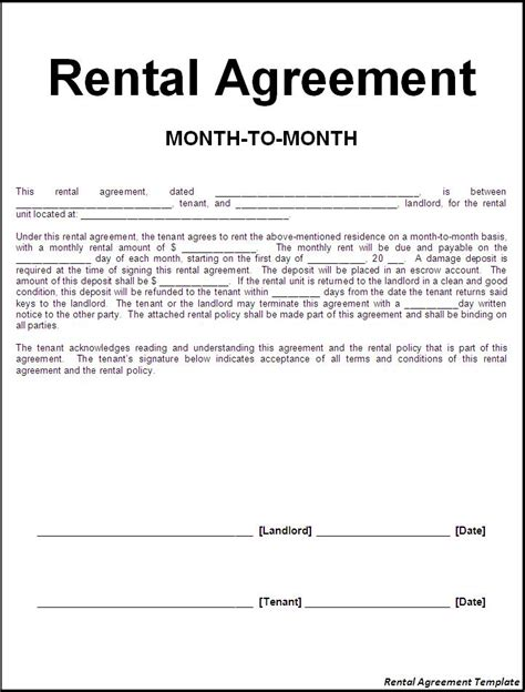 Agreement Letter Rental Application Form Rental Agreement Form Letter