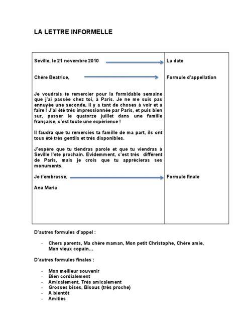 Un Exemple De Lettre Formelle En Français La Lettre Informelle