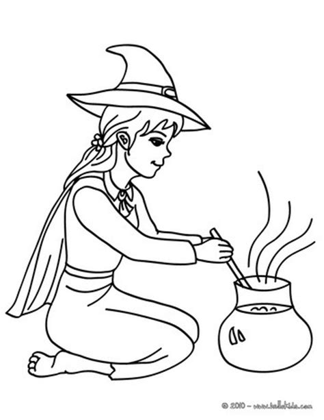 cute witch preparing concoction coloring pages hellokids com