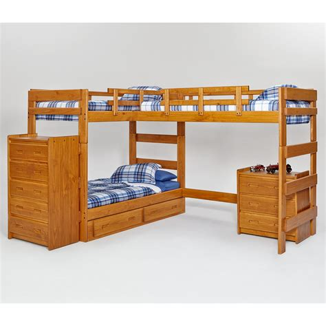 woodcrest heartland l shaped loft bunk bed with extra loft