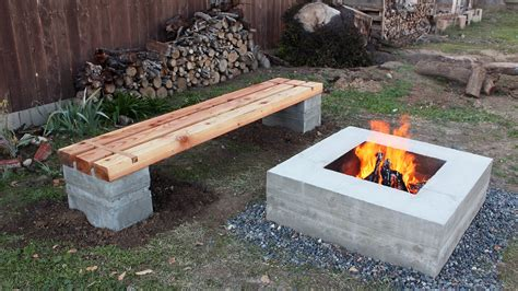 wooden fire pit bench how to make outdoor concrete and wood bench youtube