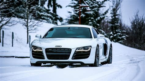 Audi R8 rides in the snow wallpapers and images