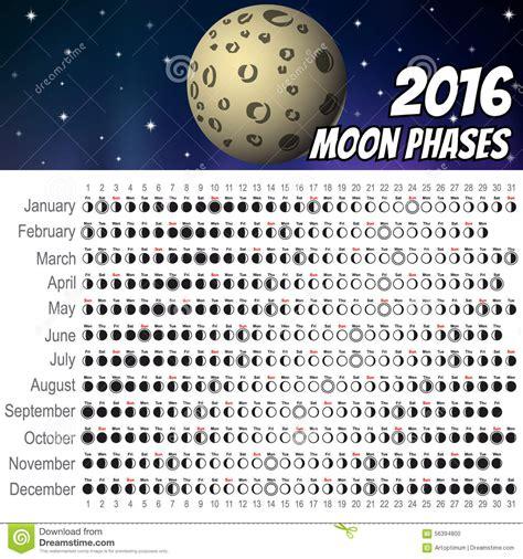 Calendrier De La Lune Calendrier 2016 De Lune Illustration De Vecteur Image