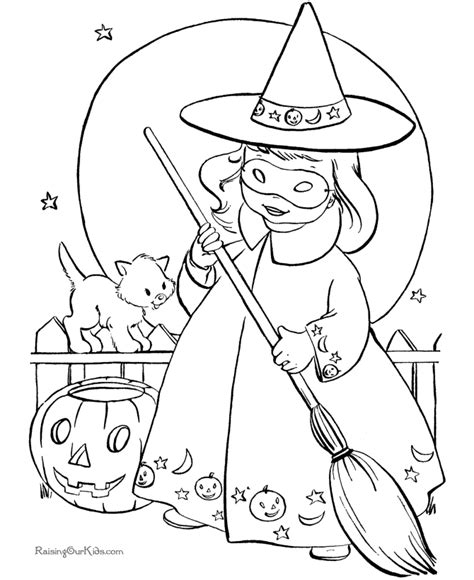 christmas witch coloring page free kid coloring pages for halloween 009