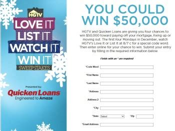 Love It Or List It Sweepstakes - hgtv s love it list it watch it win it sweepstakes code required sweepstakes