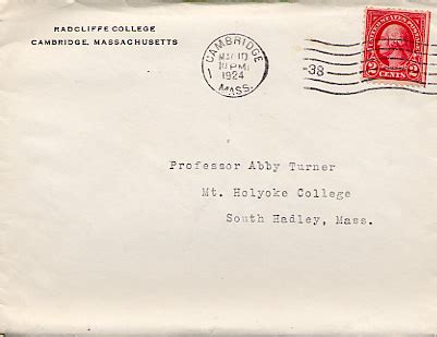 College Letter Envelope Addressed To Professor Abby Turner At Mount Holyoke College With A Return Address