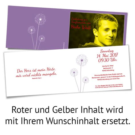 einladungskarten lila einladungskarten konfirmation pusteblume in lila