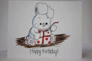 drawings for a birthday card happy birthday white bunny rabbit opening gift by
