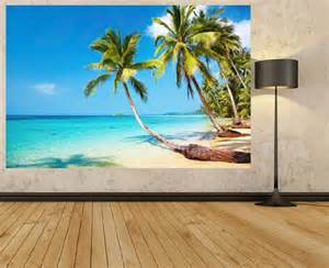 Wall Murals Beach Scenes Tropical Palm Tree Wallpaper Beach Scene Photo Mural