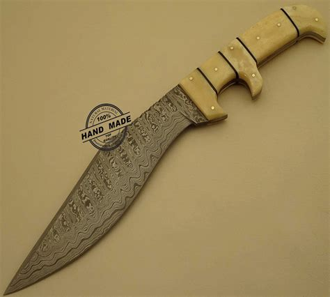 Handmade Bowie Knives Uk - new damascus bowie knife custom handmade damascus steel