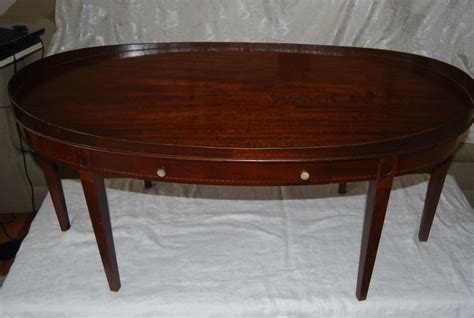 Mersman Table by Vintage Mahogany Mersman Tables Co Oval Coffee Table