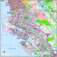 Oakland Ca Zip Code Map by Oakland Digital Vector Maps Download Editable