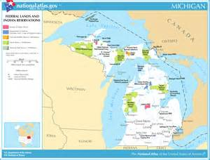 Michigan Public Land Map by Map Of Michigan Map Federal Lands And Indian Reservations