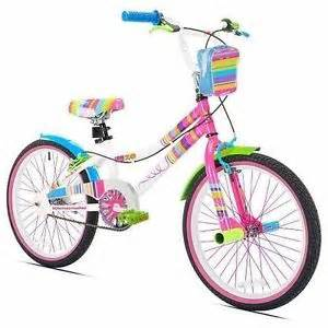 Details about girls rainbow 20 quot bike with pegs and bag white pink blue