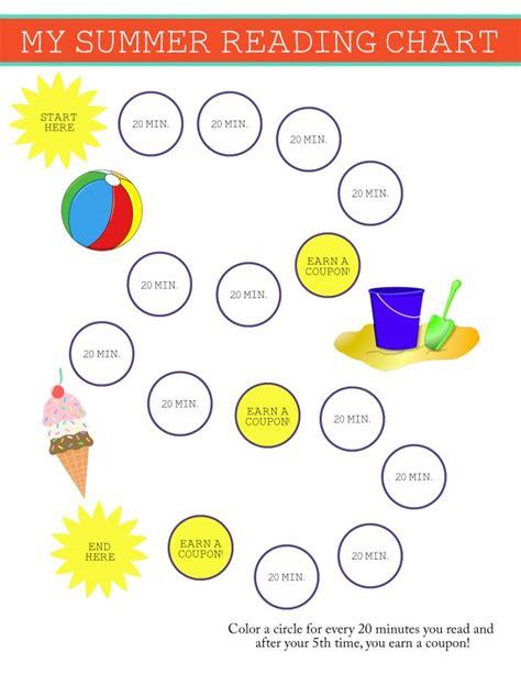 summer reading chart  reward system  kids