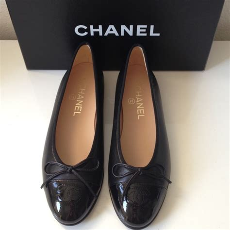 New Chanel Balerina Flat Patent Leather Black 5 chanel shoes chanel black patent leather ballerina flats 36 5 from veblen s closet on