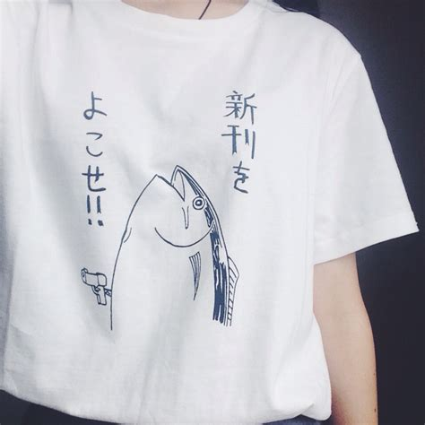 cute pattern t shirts new summer fashion cute basic fish pattern japanese style
