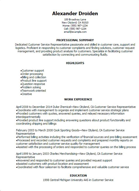 Exles Of A Customer Service Resume by 1 Customer Service Representative Resume Templates Try