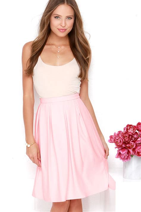 lovely light pink skirt midi skirt pleated skirt