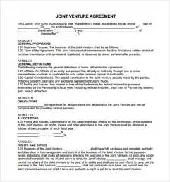 Joint Venture Agreement Template Free Joint Venture Agreement 10 Free Samples Examples