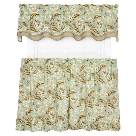 Jacobean Floral Curtains Valerie Jacobean Floral Print Tailored Tier Curtain Wayfair