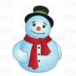 cartoon clipart round snowman wearing a red scarf
