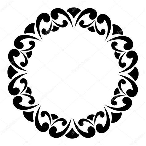 imagenes blanco y negro vectores marco redondo blanco y negro con remolinos elemento