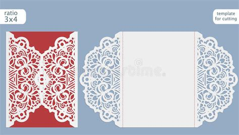 Laser Cut Wedding Invitation Card Template Cut Out The Paper Card With Lace Pattern Greeting Laser Cut L Template