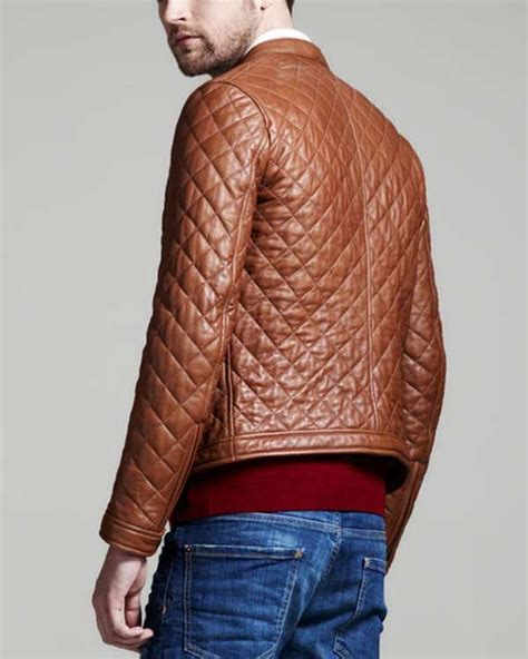 Mens Leather Quilted Bomber Jacket by Dsquared Brown Quilted Leather Bomber Jacket Menswear
