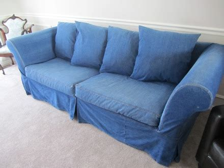 pottery barn denim sofa slipcovers something for the road project living room slipcover