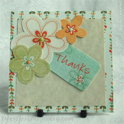 Handmade Thank You Card Designs - handmade thank you card floral trio folksy craftjuice