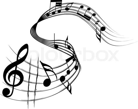 vector musical notes staff background for design use stock