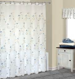 Fabric Shower Curtains With Valance Loretta Embroidered Blue Floral Fabric Shower Curtain W Available Matching Valance Bedbathhome